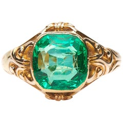 Antique, Victorian, Large Single Colombian Emerald Engagement Ring