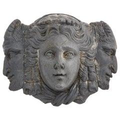 Antique Victorian Lava Brooch of Three Faces, circa 1870