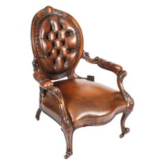 Antique Victorian Leather Spooback Armchair, 19th Century