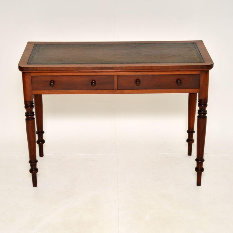 English Antique Victorian Leather Top Writing Table / Desk For Sale