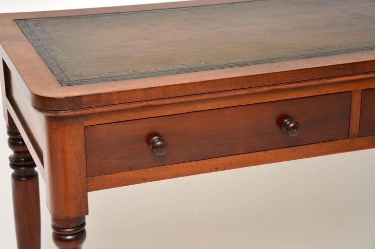 19th Century Antique Victorian Leather Top Writing Table / Desk For Sale