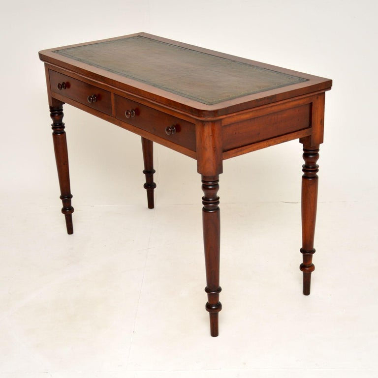 Antique Victorian Leather Top Writing Table / Desk For Sale 3