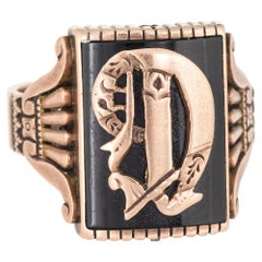 Antique Victorian Letter C Initial Ring Mens Jewelry 14 Karat Gold Square Signet