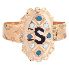 Antique Victorian Letter S Signet Ring Initial 10 Karat Rose Gold Enamel Vintage