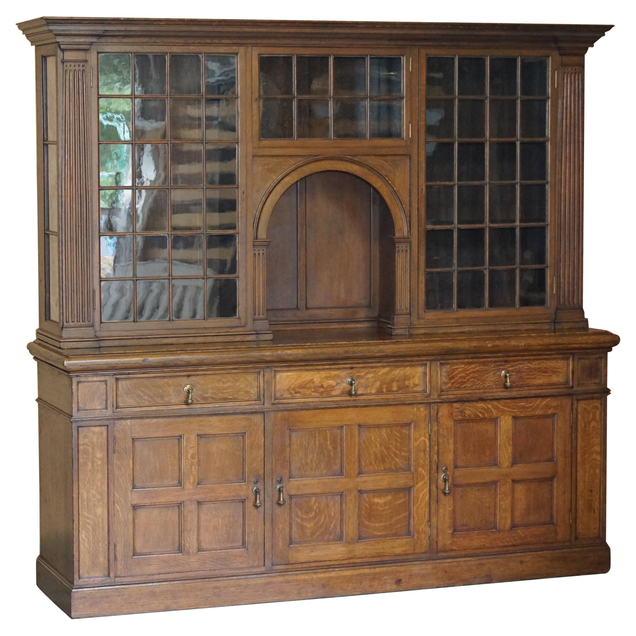 Antique Victorian Liberty of London Panelled Oak Welsh Dresser Library Bookcase