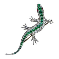 Antique Victorian Lizard Brooch Paste Silver Circa 1890
