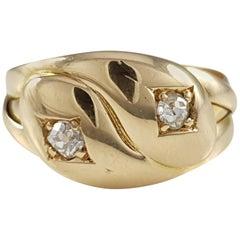 Antique Victorian, London, 1896 18 Karat Yellow Gold Diamond Double Snake Ring