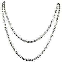 Antique Victorian Long Silver Guard Chain Belcher Necklace, circa 1900