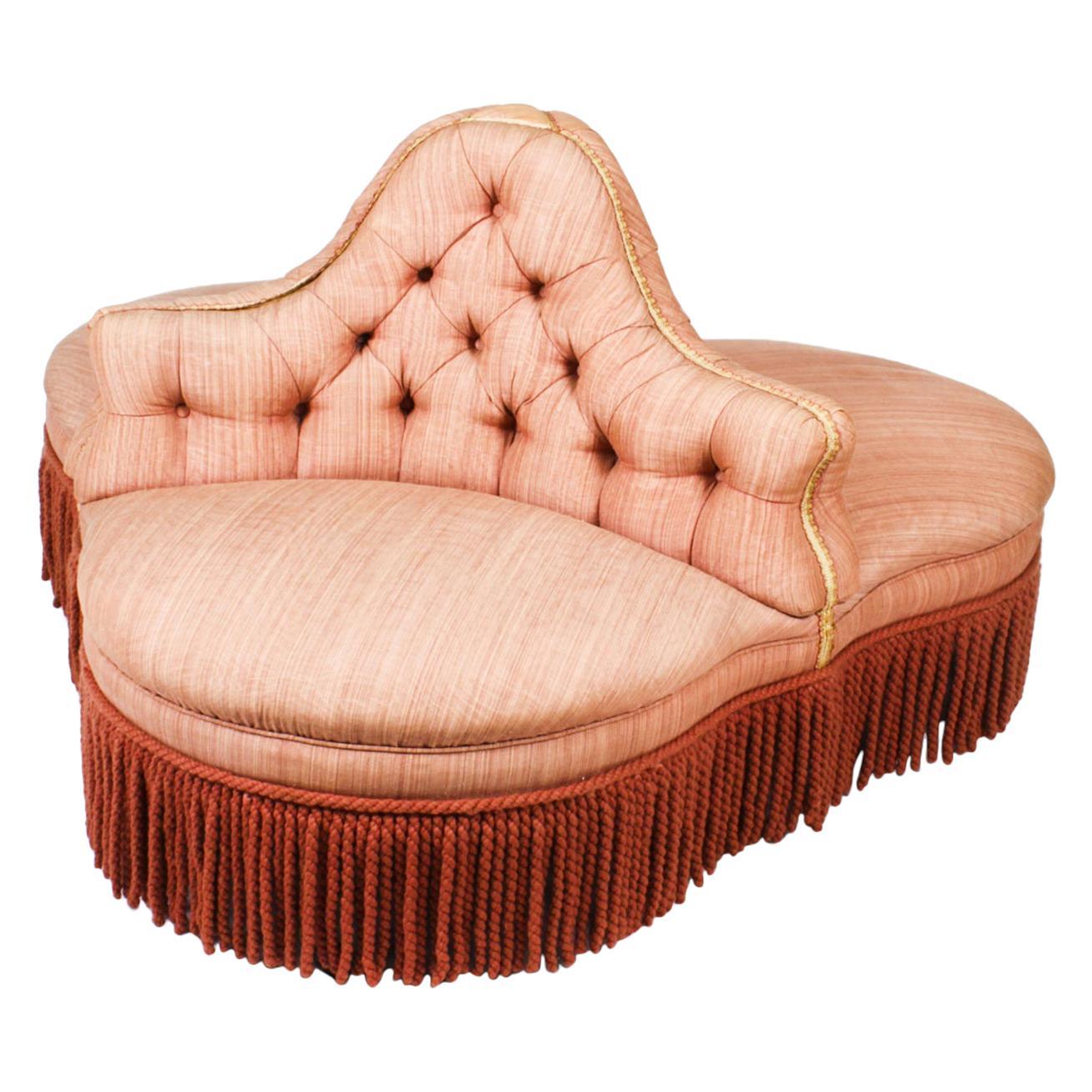 Antique Victorian Love Seat Conversation Settee, 19th Century