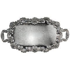 Antique Victorian Luxury Silver Plated High-End Serving Tray, 1870s