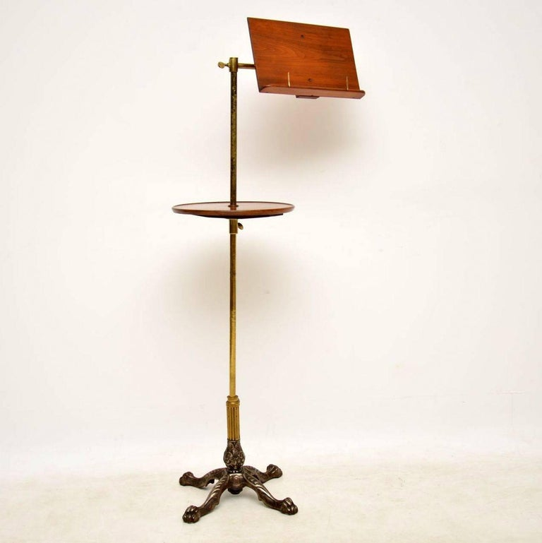 English Antique Victorian Mahogany and Brass Reading Table For Sale