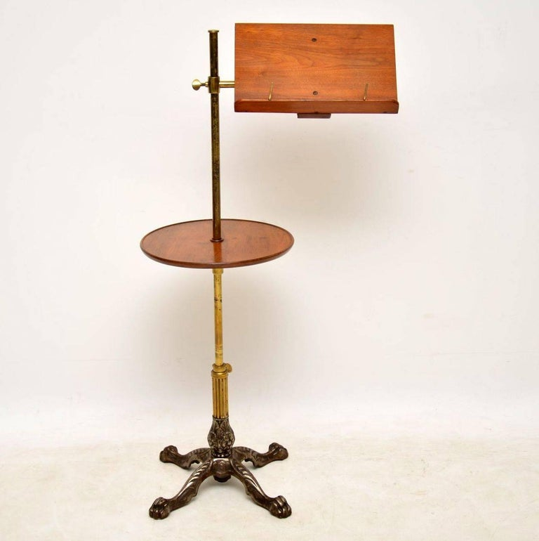 Antique Victorian Mahogany and Brass Reading Table In Excellent Condition For Sale In London, GB