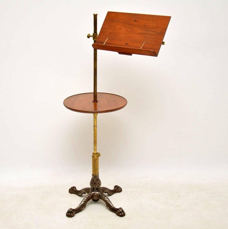 Mid-19th Century Antique Victorian Mahogany and Brass Reading Table For Sale