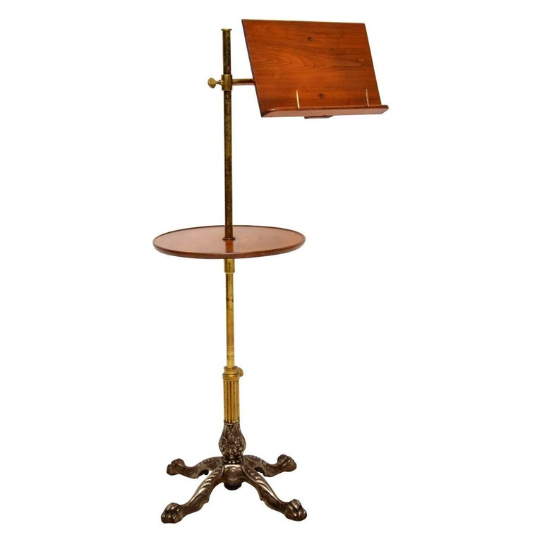 Antique Victorian Mahogany and Brass Reading Table For Sale