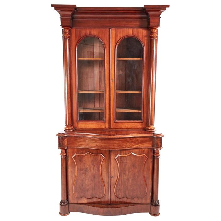 Antique Victorian Mahogany Bookcase For Sale