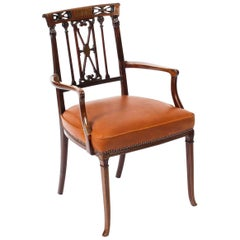 Antique Victorian Mahogany and Brass Inlaid Armchair, 19th Century