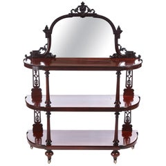 Antique Victorian Mahogany Carved Mirror Back Whatnot