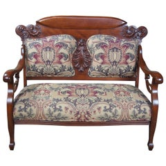 Antique Victorian Mahogany Carved Parlor Settee Bench Love Seat