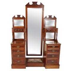 Antique Victorian Mahogany Cheval Mirror Dressing Table, Scotland 1880, B2356