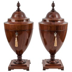 Antique Victorian Mahogany Cutlery Knife Urns, 19th Century