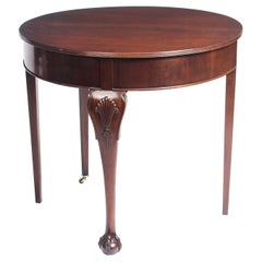 Antique Victorian Mahogany Demilune Card Console Tea Table, 19th Century