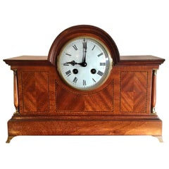 Antique Victorian Mahogany Desk Clock