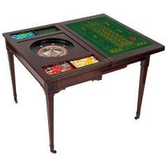 Antique Victorian Mahogany Games Card Roulette Table, 19th Century