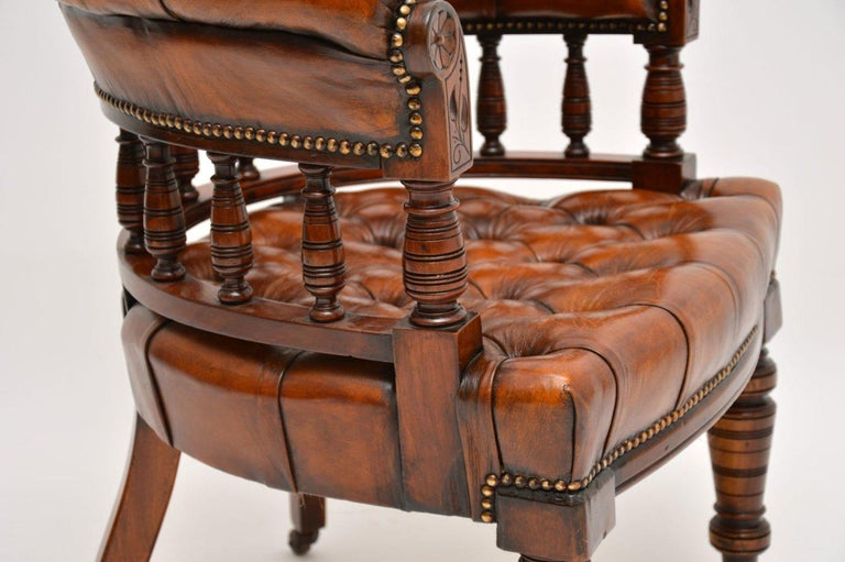Antique Victorian Mahogany and Leather Desk Chair For Sale 5