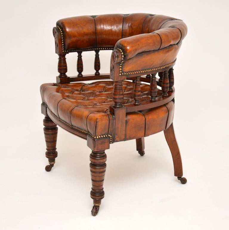 British Antique Victorian Mahogany and Leather Desk Chair For Sale