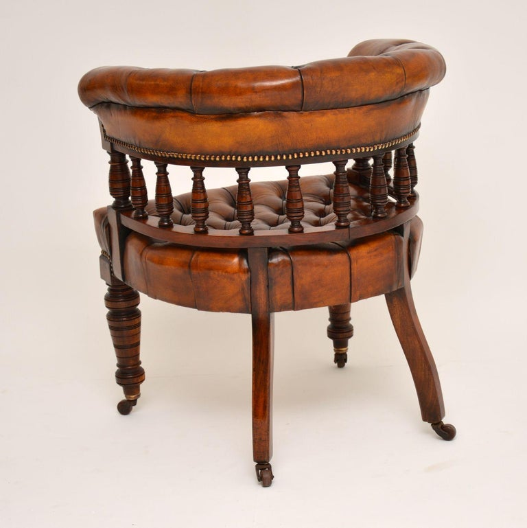 Antique Victorian Mahogany and Leather Desk Chair In Good Condition For Sale In London, GB