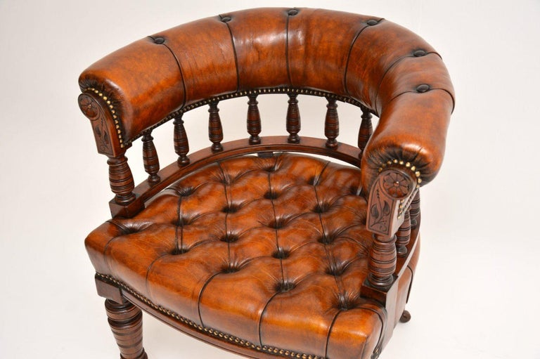 19th Century Antique Victorian Mahogany and Leather Desk Chair For Sale