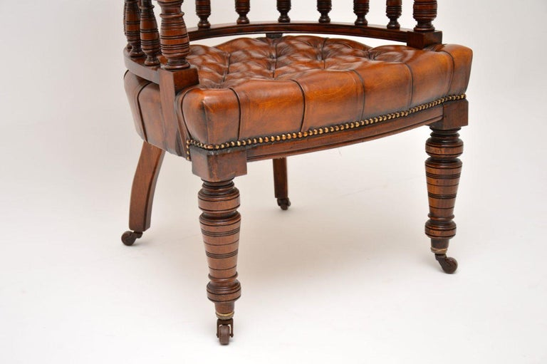 Antique Victorian Mahogany and Leather Desk Chair For Sale 3