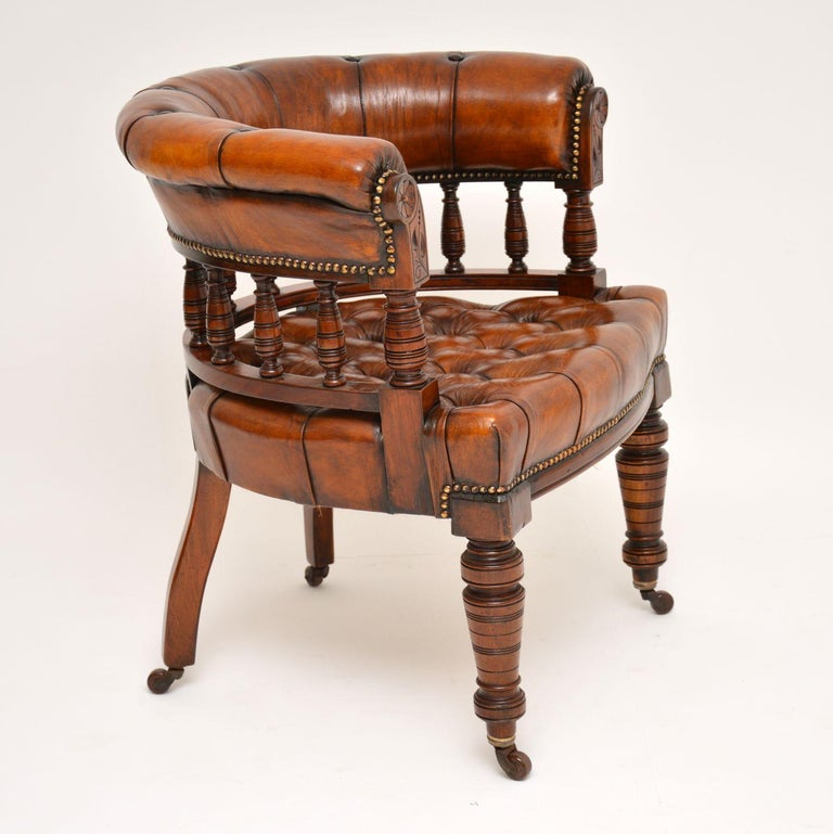 Antique Victorian Mahogany and Leather Desk Chair For Sale 4