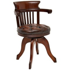 Antique Victorian Mahogany Leather Upholstered Swivel Desk Chair