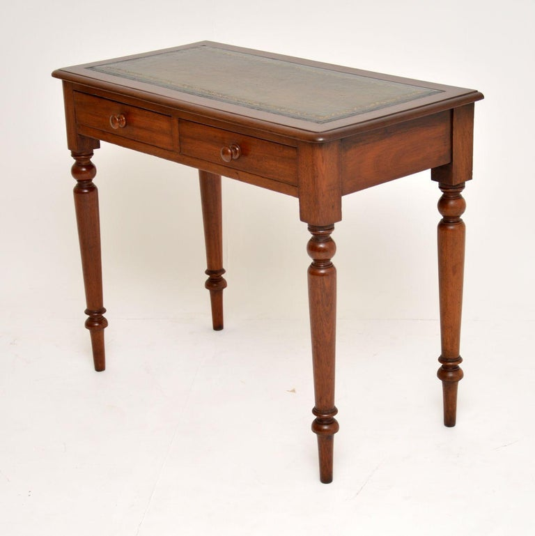 English Antique Victorian Mahogany and Leather Writing Table For Sale