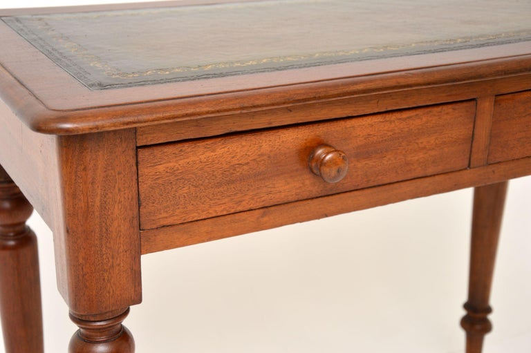 Antique Victorian Mahogany and Leather Writing Table For Sale 1