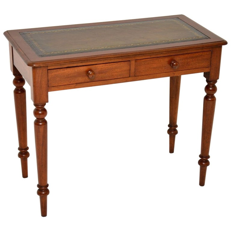 Antique Victorian Mahogany and Leather Writing Table For Sale