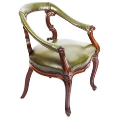 Antique Victorian Mahogany Library Chair Armchair, 19th Century