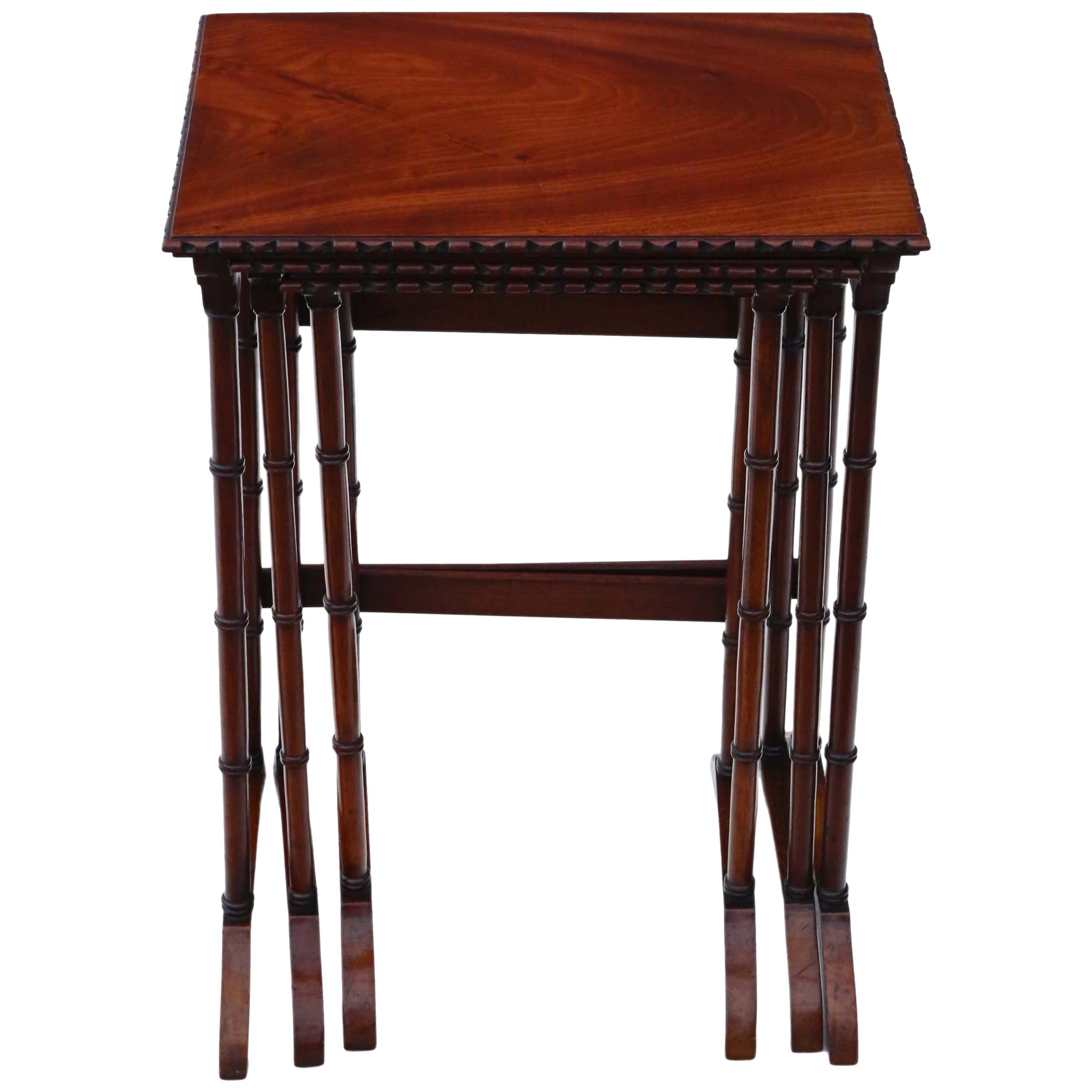 Antique Victorian Mahogany Nest of 3 Tables, C1900