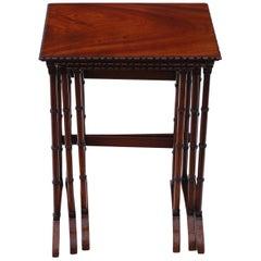 Antique Victorian Mahogany Nest of 3 Tables, C1900