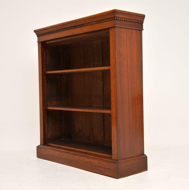 Antique Victorian Mahogany Open Bookcase 3