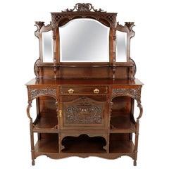 Antique Victorian Mahogany Parlour, Side Display Cabinet, Scotland 1880, B2261