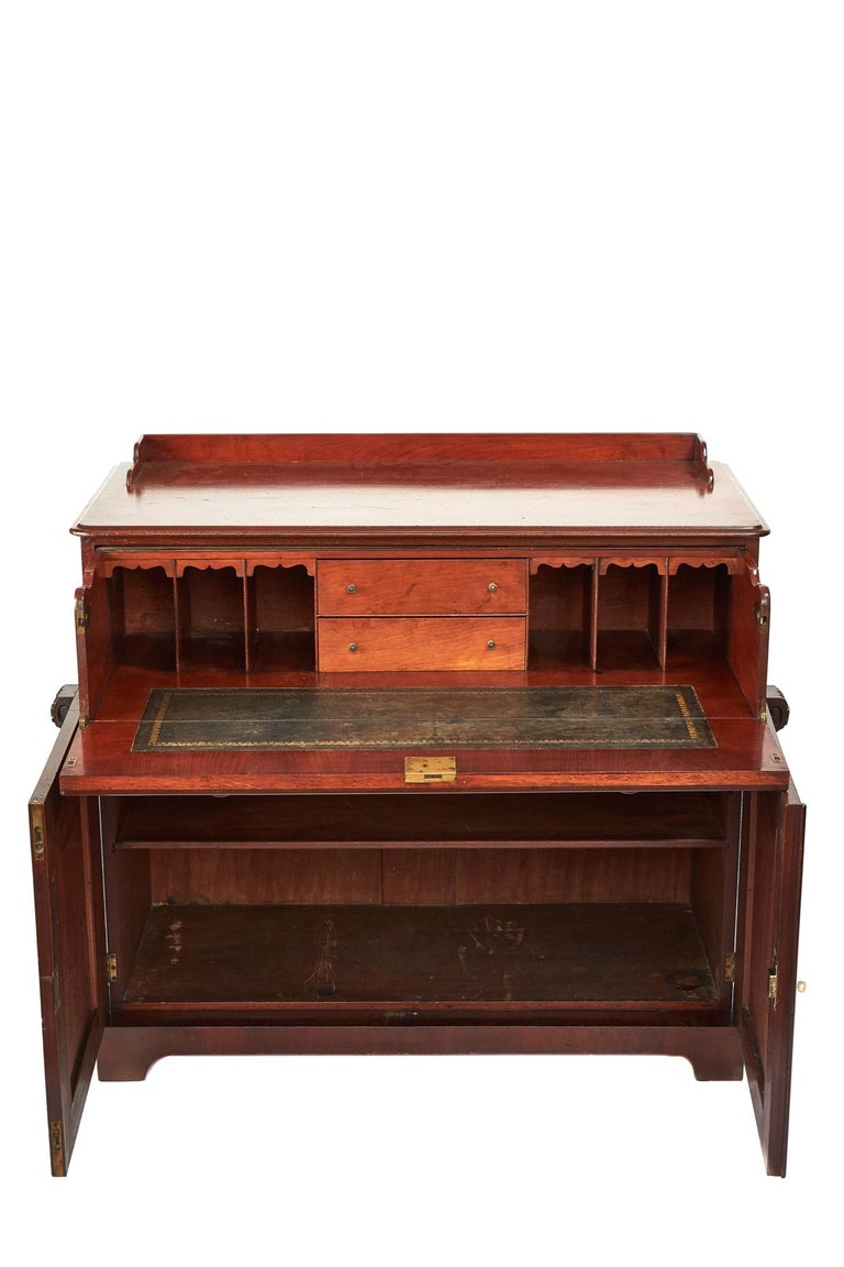 Early Victorian Antique Victorian Mahogany Secrétaire with Cupboard Base For Sale
