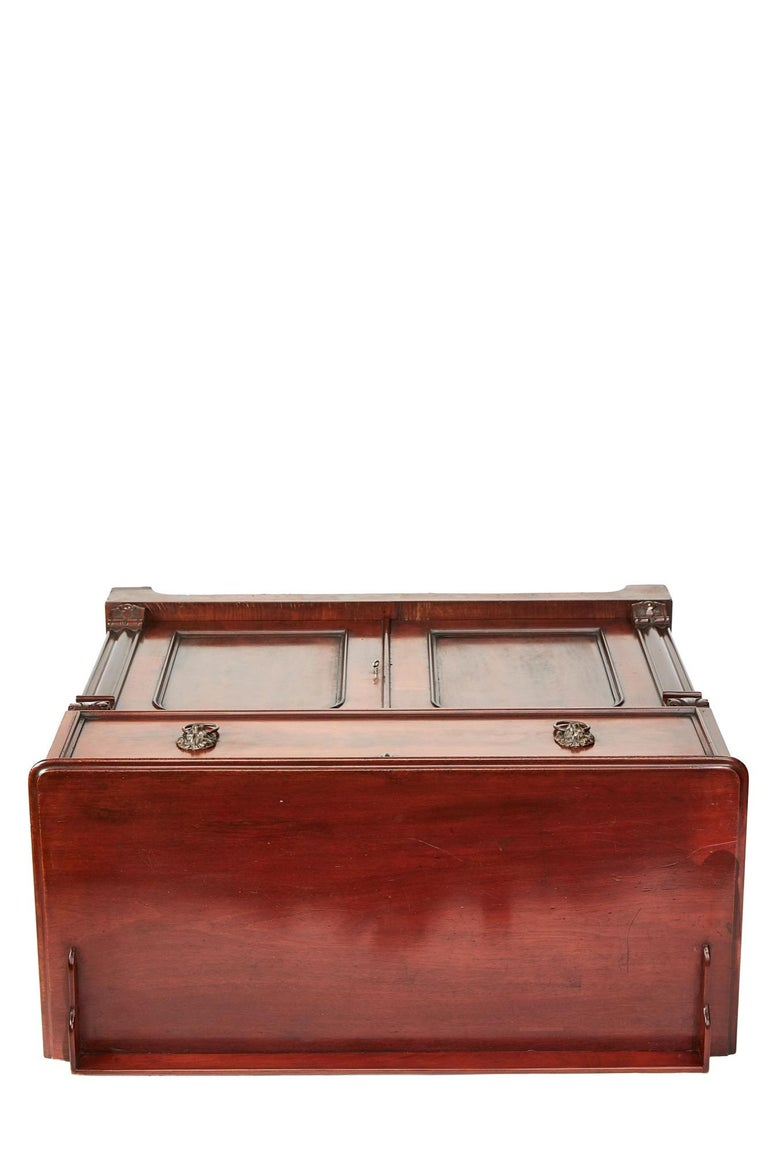 Antique Victorian Mahogany Secrétaire with Cupboard Base For Sale 1