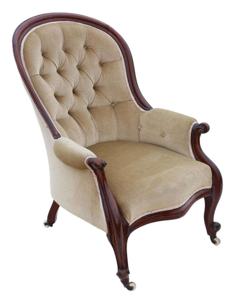Late 19th Century Antique Victorian Mahogany Spoon Back Slipper Armchair For Sale
