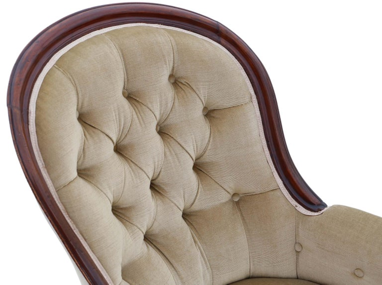 Antique Victorian Mahogany Spoon Back Slipper Armchair For Sale 1