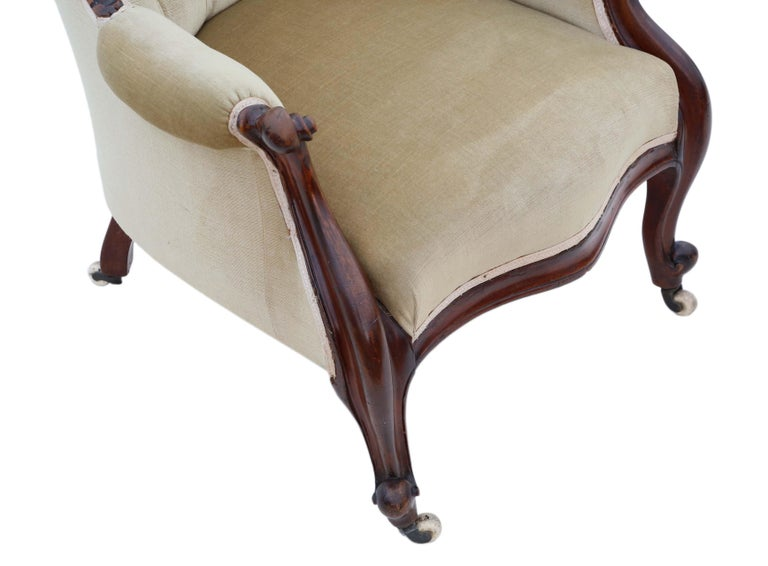 Antique Victorian Mahogany Spoon Back Slipper Armchair For Sale 2