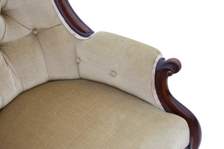 Antique Victorian Mahogany Spoon Back Slipper Armchair For Sale 3