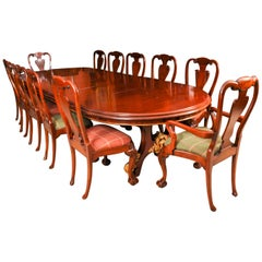 Antique Victorian Mahogany Twin Base Dining Table & 12 Chairs, 19th Century