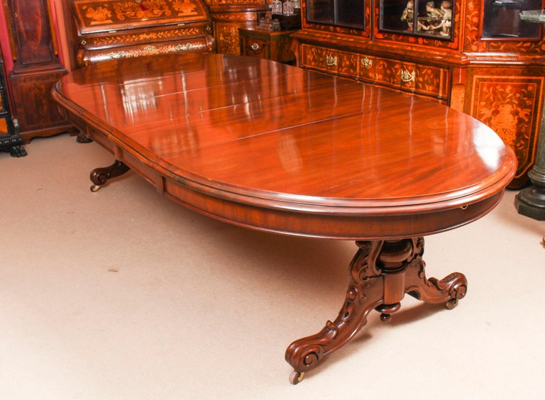 Antique Victorian Mahogany Twin Base Dining Table 19th